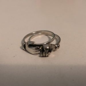 Sterling silver holding hands ring set